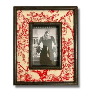 Romantic Toile Linen & Wood Picture Frame